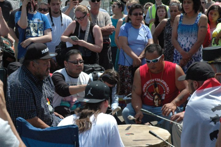Dakota drummers perform before Friday's ceremony at the Minneapolis Sculpture Garden