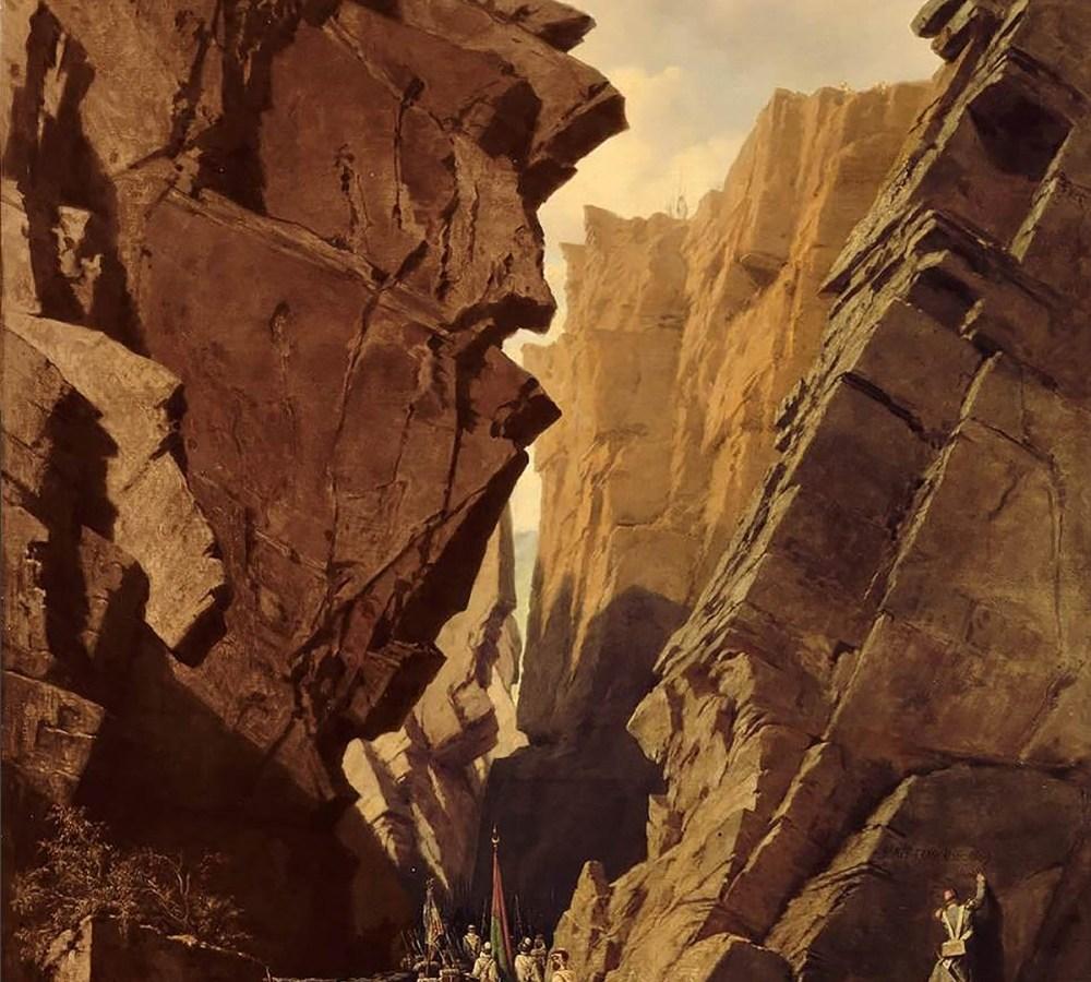"""Adrien Dauzats, """"Passage of the Iron Gates in Algeria"""" (1840)"""