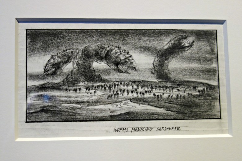 De Laurentiis, series of three Sandworm battle storyboards for the film <em srcset=