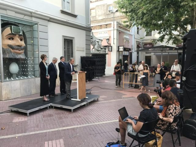 A press conference outside the Salvador Dalí Theatre-Museum in Figueres, Spain, on July 20 (photo courtesy the Fundació Gala-Salvador Dalí)