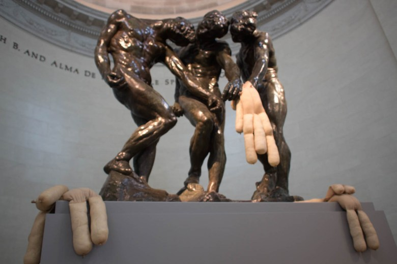 """""""Tit Teddy"""" (2017) by Sarah Lucas in the grip of """"Three Shades"""" (1898) by Auguste Rodin"""