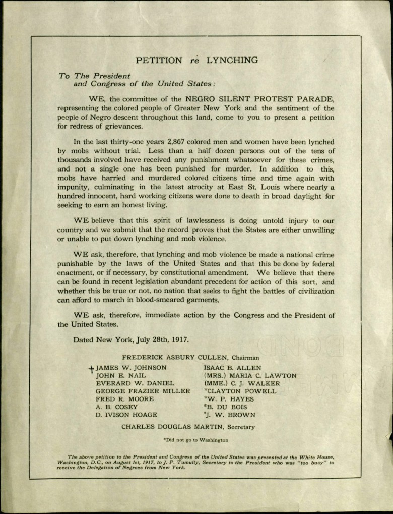 Petition on lynching to the White House from the 1917 NAACP Silent Protest Parade (courtesy James Weldon Johnson Memorial Collection of African American Arts and Letters, Yale Collection of American Literature, Beinecke Rare Book and Manuscript Library)