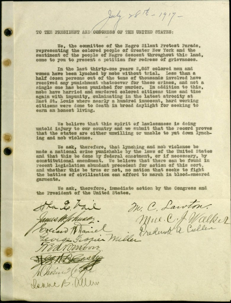 Petition to the White House from the 1917 NAACP Silent Protest Parade (courtesy James Weldon Johnson Memorial Collection of African American Arts and Letters, Yale Collection of American Literature, Beinecke Rare Book and Manuscript Library)