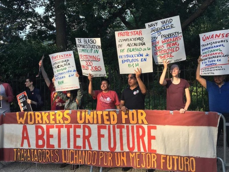 B&H Photo Video warehouse workers outside Gracie Mansion at last night's protest (photo courtesy Laundry Workers Center)
