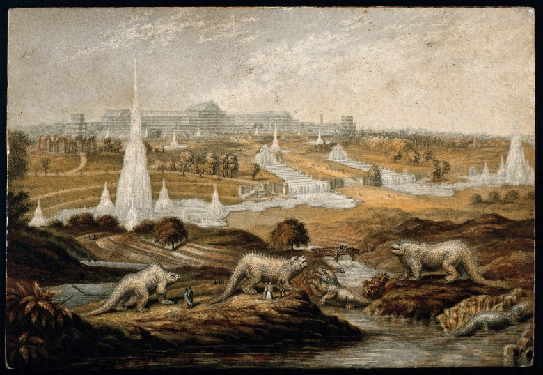 The Crystal Palace dinosaurs in a colored photomechanical print of the Great Exhibition (after 1854) (via Wellcome Images/Wikimedia)