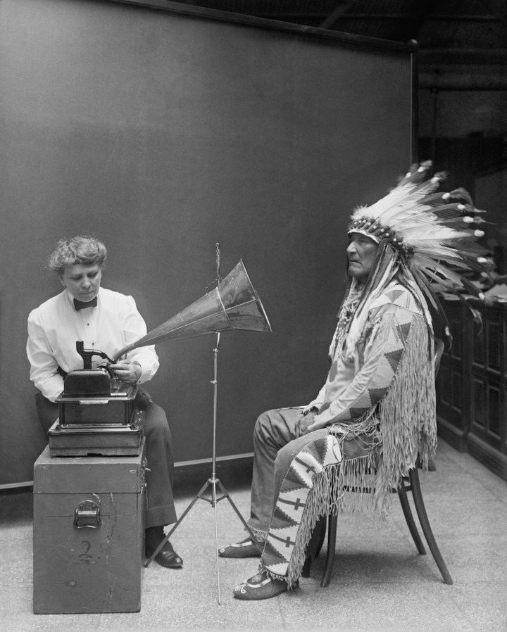 Frances Densmore at the Smithsonian Institution in 1916 during a recording session with Blackfoot chief Mountain Chief for the Bureau of American Ethnology (February 9, 1916) (via Library of Congress/Wikimedia)