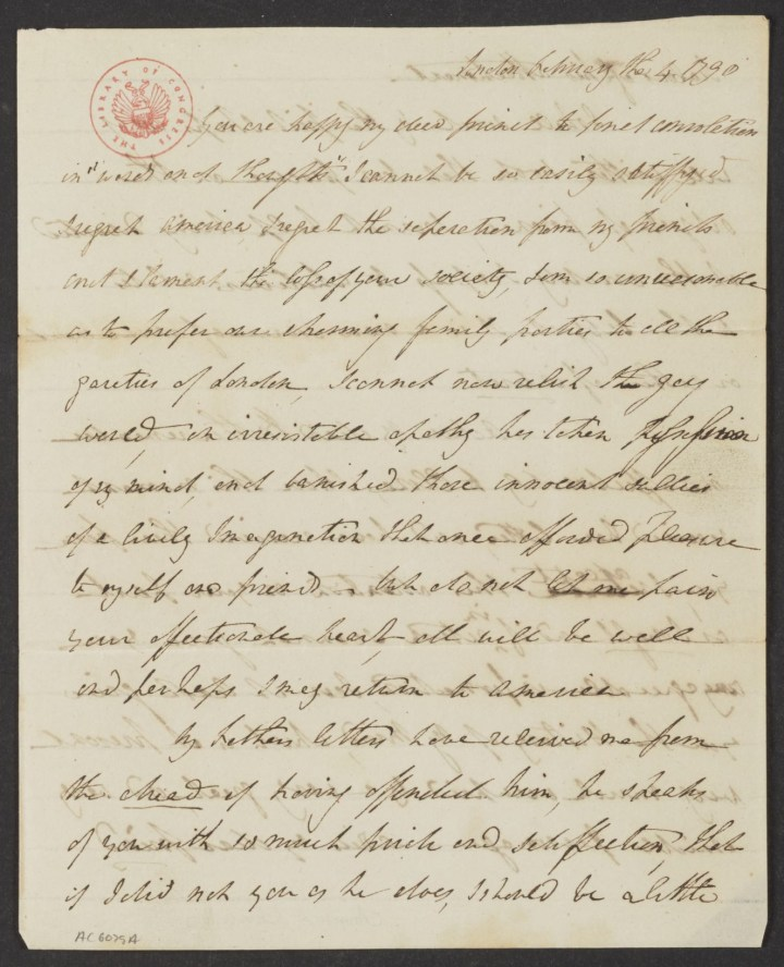 Letter from Angelica Schuyler Church to her brother-in-law Alexander Hamilton (February 4, 1790) (courtesy Alexander Hamilton Papers, Manuscript Division, Library of Congress)