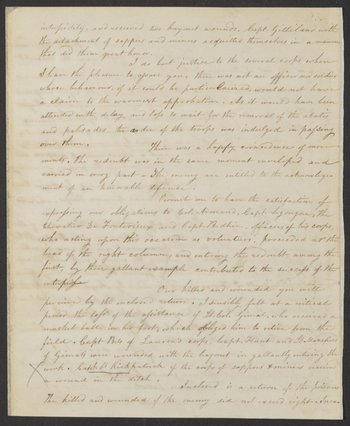 Letter, copy, fromAlexander Hamilton to the Marquis de Lafayette (October 15, 1781), reporting a joint French and American attack on British forces at Yorktown, Virginia, including a list of the killed and wounded (courtesy Alexander Hamilton Papers, Manuscript Division, Library of Congress)