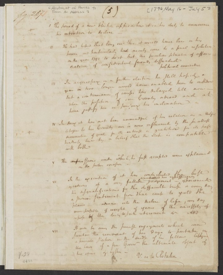 """Alexander Hamilton, """"Abstract of Points to Form and Address,"""" (May 16-July 5, 1796), for George Washington's September 1796 farewell speech (courtesy Alexander Hamilton Papers, Manuscript Division, Library of Congress)"""