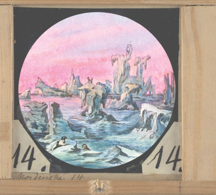 One of a series of 15 magic lantern illustrations, showing the Vega expedition (1878-80), the first arctic expedition that sailed all the way through the Northeast Passage. The probably German illustrator, whose name is unknown, mapped and illustrated Adolf Erik Nordenskjöld's expedition in all its adventurous and dramatic stages (courtesy the Royal Library in Stockholm)