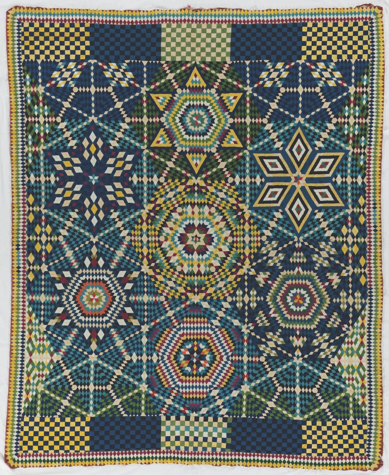 Artist unidentified, Soldier's Mosaic Stars Quilt (Found in Germantown, Pennsylvania, late 19th century), wool, 77 1/4 x 62 3/4 inches (Collection International Quilt Study Center & Museum, University of Nebraska-Lincoln)