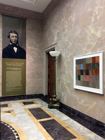 """Installation view of Abelardo Morell's """"Thoreau: 40 Journals in Chronological Order"""" (2017) at the Morgan Library & Museum (courtesy Christine Nelson, Morgan Library & Museum)"""