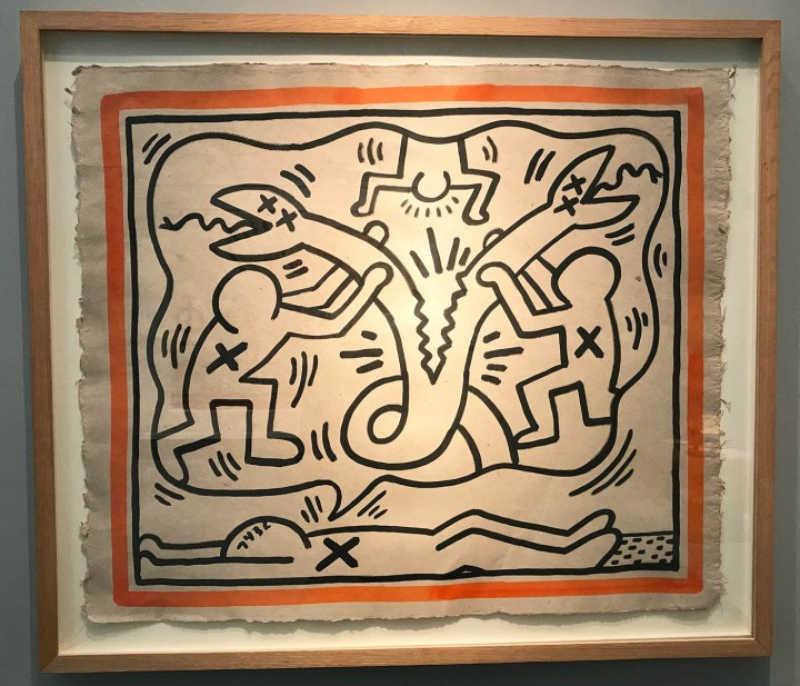 """Keith Haring, """"Untitled"""" (1982), Sumi ink on handmade linen paper, 24.75 x 29.12 in (photo by the author for Hyperallergic)"""