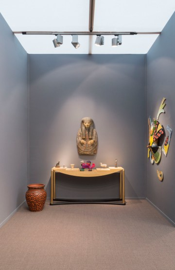 Installation view of Egyptomania in the Salon 94 and Antiquarium Ltd. booth at Frieze Masters (courtesy Salon 94)