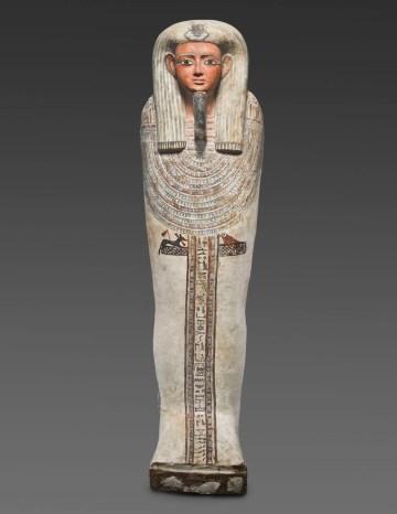 Egyptian Polychrome Wood Inner Sarcophagus, Early Late Period, early Dynasty XXVI (mid 7th century BCE), wood, gesso, polychrome, bronze (courtesy of Antiquarium Ltd., New York)