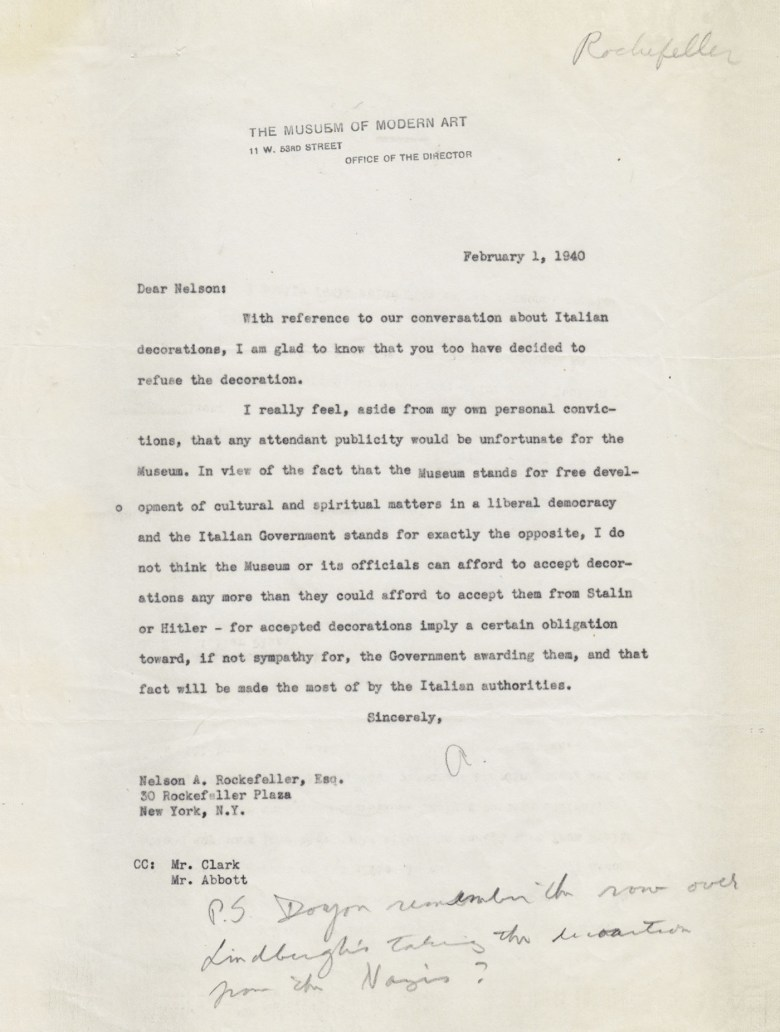 Letter from President of the Board Nelson A. Rockefeller to Director of the Film Library John E. (Dick) Abbott, January 4, 1940 (MoMA Exhibits) (courtesy Esopus)