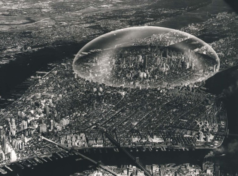 "Buckminster Fuller, ""Dome Over Manhattan"" (1960), black and white photograph on board with dome overlay (courtesy The Estate of R. Buckminster Fuller)"