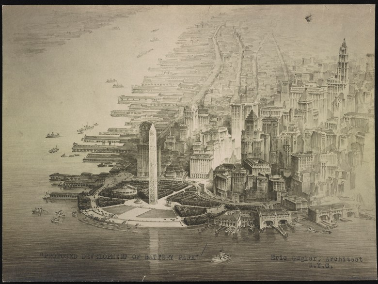 """Eric Gugler, """"Development of Battery Park (Bird's eye view showing proposed plan)"""" (1929), gelatin silver print (courtesy Library of Congress)"""