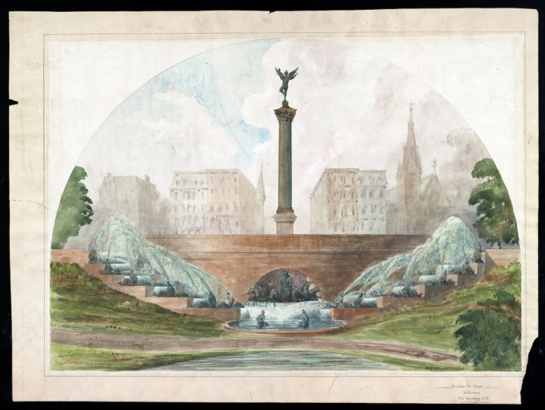 """Richard Morris Hunt, """"Central Park Gates"""" (1863), watercolor, pen, and pencil on paper (courtesy Library of Congress)"""