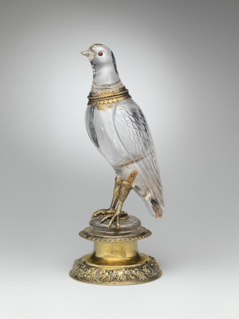 """""""Bird"""" (German, Nuremberg, 1580, with later renovation), rock crystal, with gilded silver and rubies (courtesy Metropolitan Museum of Art, Gift of J. Pierpont Morgan, 1917)"""