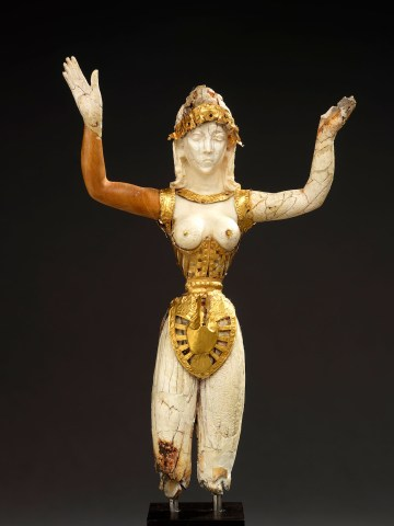 """""""Statuette of a Minoan Goddess (Our Lady of the Sports)"""" (Probably early 20th century), ivory and gold, Crete (?) (courtesy Royal Ontario Museum, Toronto, with permission of the Royal Ontario Museum, © ROM)"""