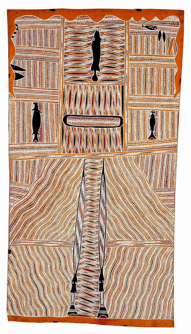 Djarrwark ga Dhalwaŋu, Son of Birrikitji (1935–2016), ANMM Collection (Purchased with the assistance of Stephen Grant of the GrantPirrie Gallery, reproduced courtesy of the artist and Buku-Larrŋgay Mulka Art Centre)