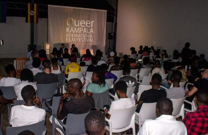 The sold-out opening night of the 2017 Queer Kampala International Film Festival; police raided and forcibly closed the festival on December 9, 2017. (© 2017, Queer Kampala International Film Festival)