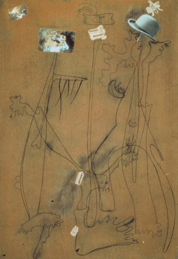 """Joan Miró, """"Drawing-Collage"""" (September 25, 1933), conté crayon, printed paper, and postcards on flocked paper, 42 x 27 1/2 in, private collection (© 2013 Successio Miro / Artists Rights Society/ARS, New York / ADAGP, Paris)"""