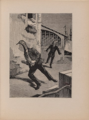 """Max Ernst, page from """"Oedipus (Oedipe), Volume IV,"""" from A Week of Kindness or the Seven Capital Elements (""""Une Semaine de bonté ou les sept éléments capitaux,"""" 1933–34), published 1934, line block after collage, from a five-volume serial novel with 182 line blocks after collages, page: 10 3/4 x 8 1/16 in, publisher: Éditions Jeanne Bucher, Paris; printer: Georges Duval, Paris; edition: 812; the Museum of Modern Art, New York, the Louis E. Stern Collection, 1964 (photo by Robert Gerhardt. © 2017 Artists Rights Society/ARS, New York / ADAGP, Paris)"""
