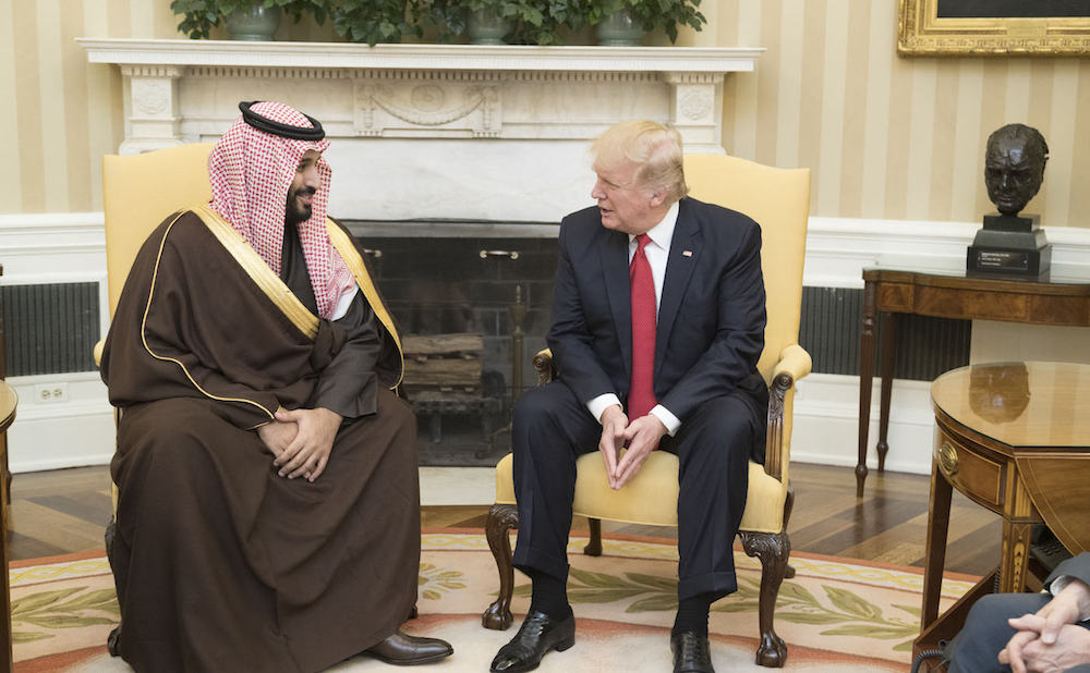 Crown Prince Mohammed bin Salman bin Abdulaziz Al Saud with US President Donald Trump during a state visit in March 2017 (photo by The White House/Flickr)