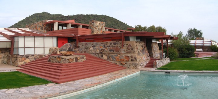 The Frank Lloyd Wright Foundation received a $6,000 NEH grant for environmental monitoring equipment to be installed at Taliesin and Taliesin West (pictured). (photo by Greg O'Beirne, via Wikimedia Commons)