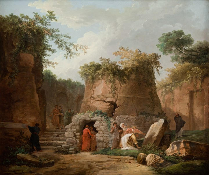 """Hubert Robert, """"The Tomb of Virgil at Posilipo, Near Naples"""" (1784), oil on canvas, 23 3/4 x 28 1/2 in, collection of La Salle University Art Museum (photo by Jack Ramsdale, courtesy La Salle University)"""