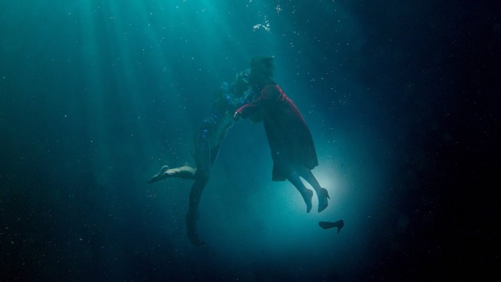 A scene from The Shape of Water, featuring Doug Jones and Sally Hawkins (courtesy Fox Searchlight Pictures)