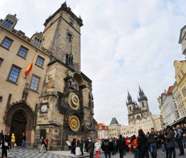 Pragues Staromestske Namesti Old Town Square With The Astronomical Clock To The Left Photo By Claire Voon