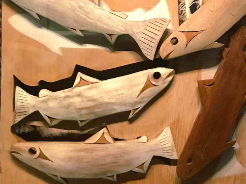 "Tim Paul (Hesquiaht Nuu-chah-nulth), ""Summer Seasonal Moon"" (ca 2000), cedarwood, cedar bark, paint, feathers, National Museum of the American Indian, New York (photo Benjamin Sutton/Hyperallergic)"