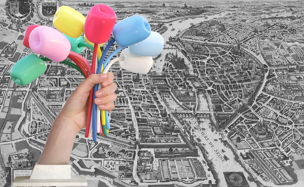 "Where in Paris will Jeff Koons's ""Bouquet of Tulips"" (2016) end up? (illustration by the author, historical map of Paris via oldmapsofparis.com)"