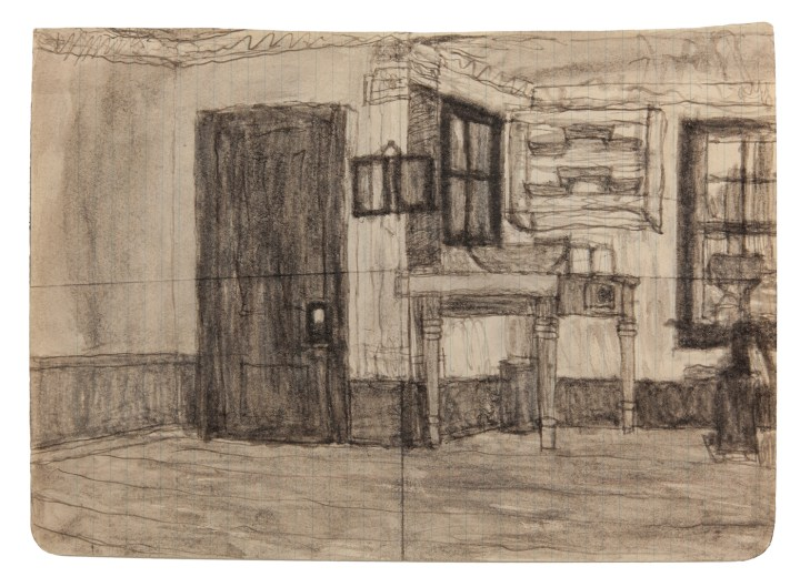 "James Charles Castle, ""Untitled (kitchen)"" (nd), found paper, soot, 7 7/8 x 10 7/8 in (collection of The William Louis-Dreyfus Foundation Inc.; © 2018 James Castle Collection and Archive LP)"