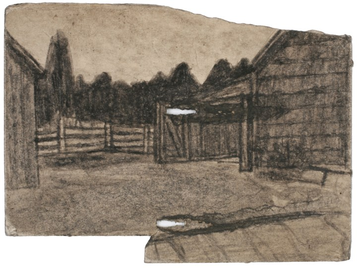 "James Charles Castle, ""Untitled (farmscape)"" (nd), found paper, soot, 4 1/4 x 5 3/4 in (collection of The William Louis-Dreyfus Foundation Inc.; © 2018 James Castle Collection and Archive LP)"