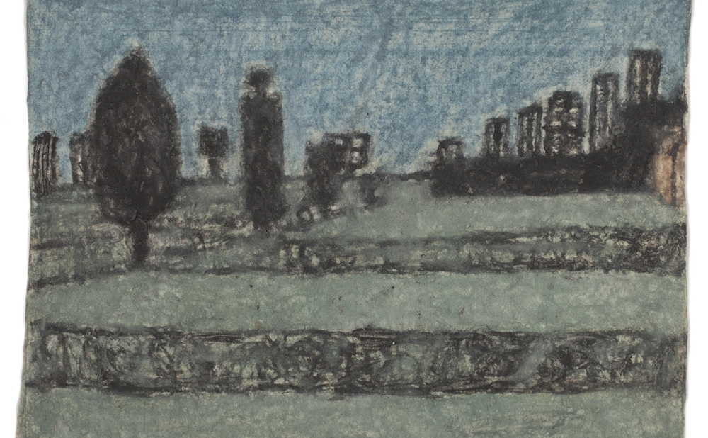 "James Charles Castle, ""Untitled (landscape with columnar forms)"" (nd), found paper, color of unknown origin, soot, 5 x 6 3/4 in (© 2018 James Castle Collection and Archive LP)"