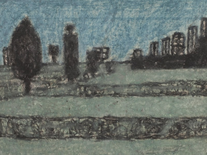 """James Charles Castle, """"Untitled (landscape with columnar forms)"""" (nd), found paper, color of unknown origin, soot, 5 x 6 3/4 in (© 2018 James Castle Collection and Archive LP)"""