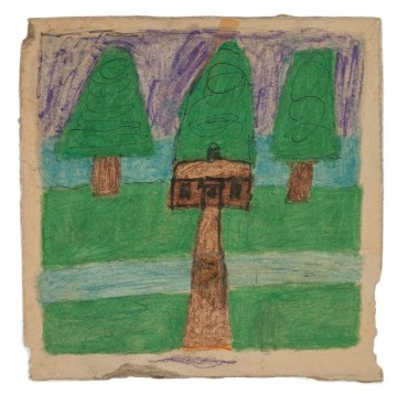 "James Charles Castle, ""Untitled (house with green trees)"" (nd), found paper, color of unknown origin, marker, soot, graphite, 8 x 8 in (© 2018 James Castle Collection and Archive LP)"