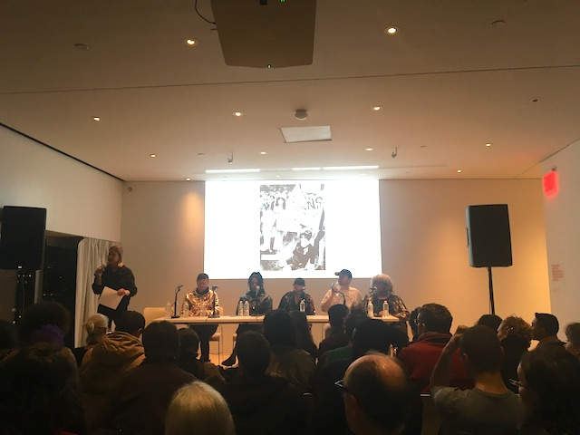 Image: Editor Johanna Burton introduces the panelists, from left to right, editors Reina Gossett (not pictured, but present after the panel started) and Eric A. Stanley, Juliana Huxtable, Che Gossett, Toshio Meronek and Miss Major Griffin-Gracy.