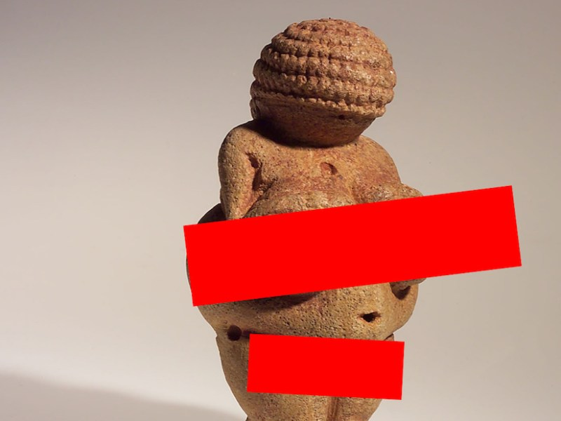 A Facebook-safe version of the Venus of Willendorf (illustration by the author for Hyperallergic)