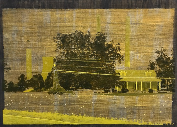 "Greg Lindquist, ""Plant Bowen, Euharlee, Georgia, (Tobacco Fields)"" (2017), oil, acrylic, and ash on linen, 20 1/4 x 28 1/4 in (all images courtesy the artist and Lennon, Weinberg, Inc.)"