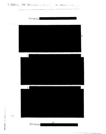 """Edmund Clark/Crofton Black, """"Page from CIA Inspector General, Special Review: Counterterrorism Detention and Interrogation Activities (September 2001–October 2003), dated May 7, 2004,"""" from Negative Publicity: Artefacts of Extraordinary Rendition (2015) by Crofton Black and Edmund Clark"""