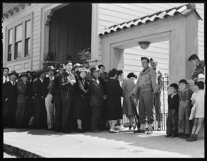 """Dorothea Lange, """"San Francisco, California, April 25, 1942"""" (courtesy National Archives and Records Administration)"""