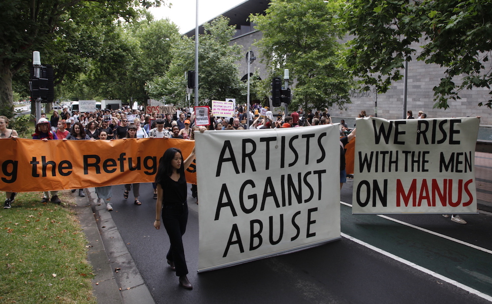 A protest outside the National Gallery of Victoria (photo by Tatjana Plitt, courtesy the Artists' Committee)