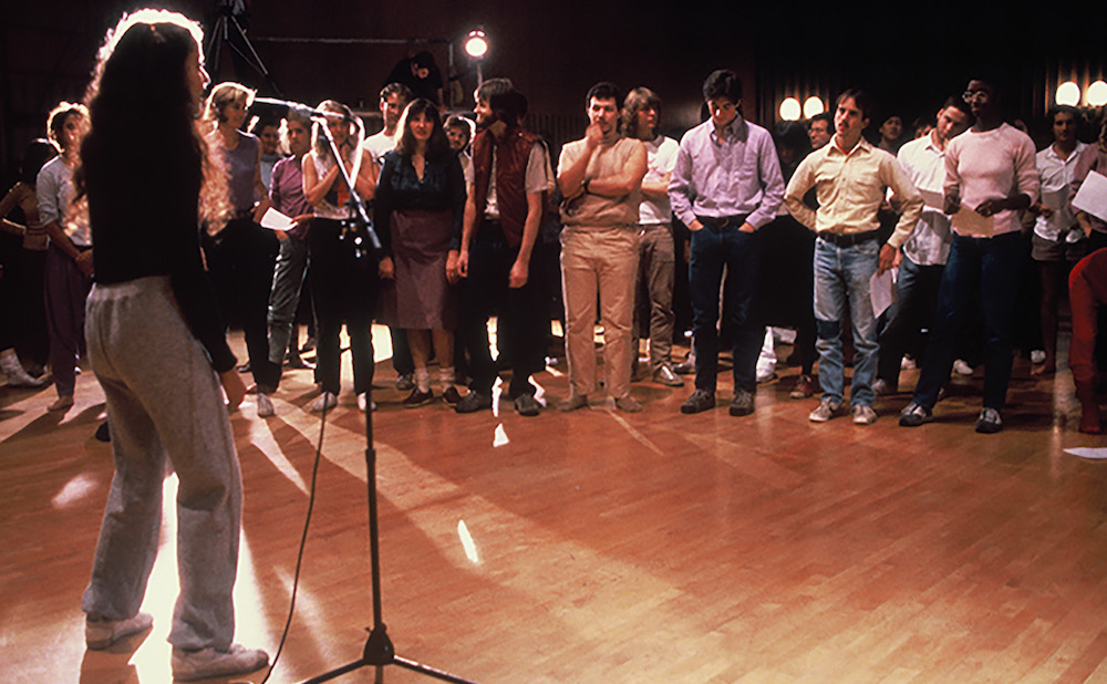 "Adrian Piper, ""Funk Lessons"" (1983–84), documentation of the group performance at University of California, Berkeley, November 6, 1983; color photograph, collection Adrian Piper Research Archive Foundation Berlin (© Adrian Piper Research Archive Foundation Berlin; photo courtesy of the University of California at Berkeley)"
