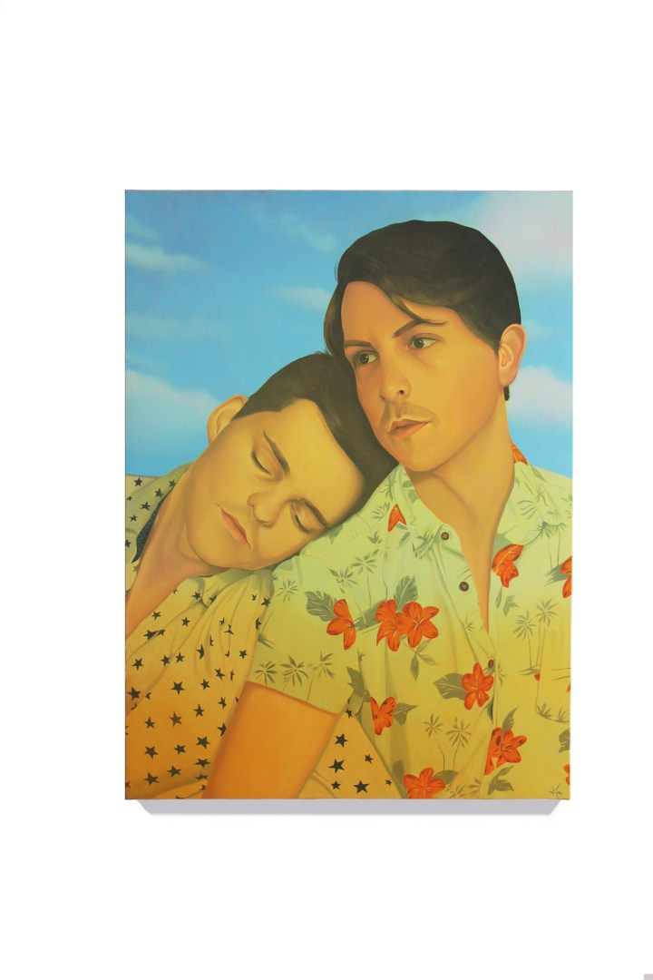 """Danny Ferrell, """"Fred and Adam"""" (2018), oil on canvas, 38 x 28 in (courtesy Galerie Pact)"""