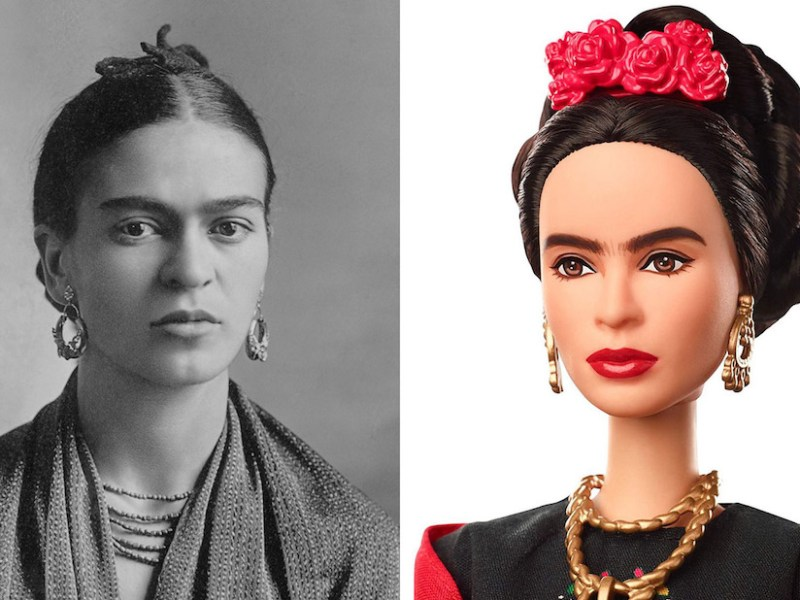 Left: Frida Kahlo in 1932 (photo by Guillermo Kahlo, courtesy Sotheby's, via Wikimedia Commons); right: the Frida Kahlo Barbie doll (courtesy Mattel)